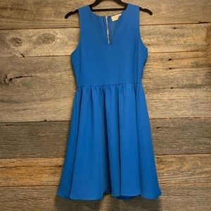 Blue Everly Dress with Gold Zipper